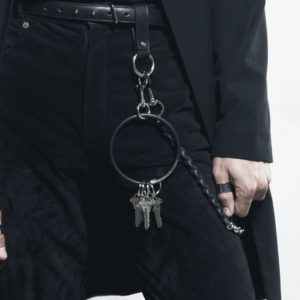 Oversized black leather and silver key ring